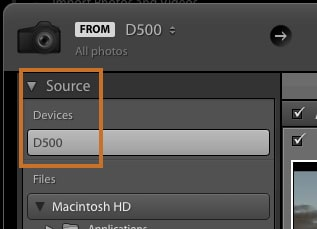 Select camera from source